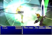 Cloud utilizando Omnilátigo contra Sephiroth en Final Fantasy VII