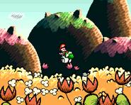 Yoshi haciendo su pisotón en Super Mario World 2-Yoshi's Island