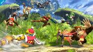 Fox, Diddy Kong, Donkey Kong, Lucina, Shulk, Luigi, Samus y Rey Dedede en la Llanura de Graur para Wii U