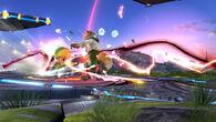 Toon Link golpeando a Fox con daño alto SSB4 (Wii U)