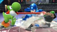 Yoshi atacando a Little MacyMega Man SSB4 (Wii U)