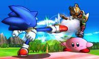 Sonic usando su ataque normal contra Kirby y Fox en el Tren de los Dioses SSB4 (3DS)