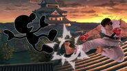 Mr. Game & Watch y Ryu en Suzaku Castle SSBU