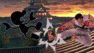 Mr. Game & Watch y Ryu en Suzaku Castle SSBU