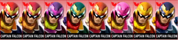 Paleta de colores de Captain Falcon SSB4 (3DS)