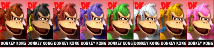 Paleta de colores de Donkey Kong SSB4 (3DS)