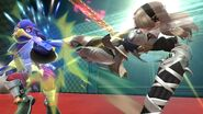 Corrin usando la patada delantera durante Embestida Dragon SSB4 (Wii U)