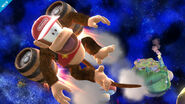 Diddy Kong usando Barril volador en Galaxia Mario SSB4 (Wii U)
