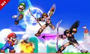 Mario, Luigi, Pit y Pit Sombrío en 3D Land SSB4 (3DS)