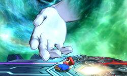 Master Hand Lanzamiento hacia abajo SSB4 (3DS)
