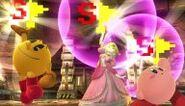 Pac-Man, Peach y Kirby sosteniendo la Bandera especial SSB4 (Wii U)