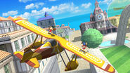 Aldeano y Mario en el escenario de Pilotwings (SSB. for Wii U)