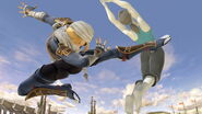 Sheik atacando a la Entrenadora de Wii Fit en Coliseo SSBU