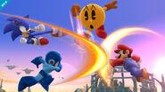 Sonic, Mega Man, Pac-Man y Mario en el Campo de Batalla SSB4 (Wii U)