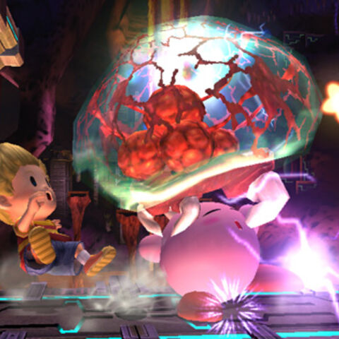 Metroide atacando a Kirby.