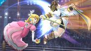 Peach atacando a Pit en el Ring de Boxeo SSB4 (Wii U)