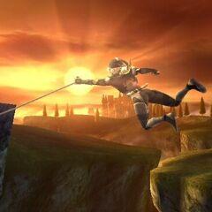 Sheik usando Cadena como una recuperación con cuerda en <i>Super Smash Bros. Brawl</i>.