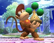 Diddy Kong sosteniendo a Bonsly SSBB