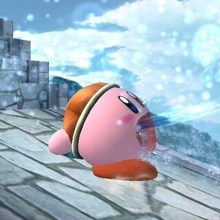Kirby usando Pistola agua.