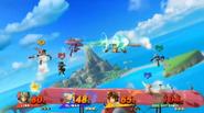 Genesect usando el disparo normal de tecno shock en Pilotwings SSB4 (Wii U)