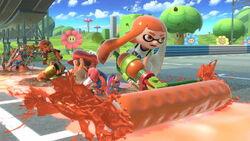 Link, Samus, Mario y una inkling chica en Circuito Mario (Brawl) SSBU