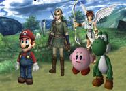 Mario, Link, Kirby, Pit y Yoshi en el ESE Beta