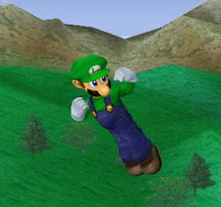 Ataque aéreo hacia abajo de Luigi SSBM