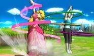 Peach y la Entrenadora de Wii Fit en el Tren de los Dioses SSB4 (3DS)