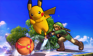 Samus, Pikachu y Link en el Campo de batalla SSB4 (3DS)