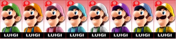 Paleta de colores de Luigi SSB4 (3DS)