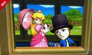 Peach junto a un Mii Lanzador en el Tren de los Dioses SSB4 (3DS)