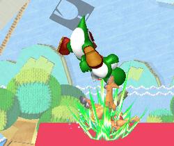 Lanzamiento hacia abajo de Yoshi SSBM