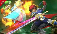 Roy atacando a Estela y Yoshi en el Bosque Genesis SSB4 (3DS)
