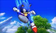 Sonic usando su ataque aéreo hacia abajo en el Campo de Batalla SSB4 (3DS)