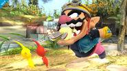 Wario usando Dentellada contra Olimar en el Vergel de la Esperanza SSB4 (Wii U)