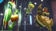 Yoshi usando Pisotón junto a Bowser y su Bomba Bowser y Toon Link con su aéreo hacia abajo SSB4 (Wii U)