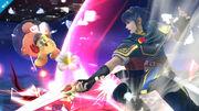 Marth atacando a Olimar - (SSB. for Wii U)