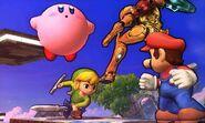 Kirby, Samus, Toon Link y Mario en el Campo de Batalla SSB4 (3DS)