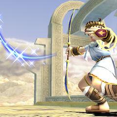 Pit lanzando una flecha en <i>Super Smash Bros. Brawl</i>.