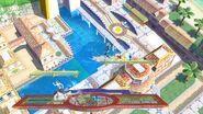La Entrenadora de Wii Fit, Olimar y Samus Zero en Ciudad Delfino SSB4 (Wii U)