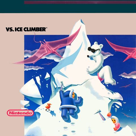 Ilustración oficial de <i>Vs. Ice Climber</i>. Nótese la cima siendo destruida.