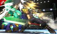 Cloud atacando a Luigi en el Cuadrilatero SSB4 (3DS)