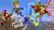 Mewtwo y tres Luchadores Mii con atuendos de DLC en el Coliseo SSB4 (Wii U)