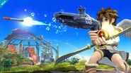Pit atacando con el Steel Diver SSB4 (Wii U)