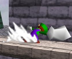Ataque Smash lateral de Luigi SSB