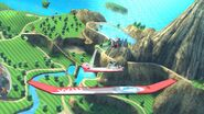 Olimar, Samus Zero y Kirby en las Islas Wuhu SSB4 (Wii U)
