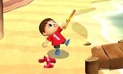 Ataque fuerte hacia arriba Aldeano (1) SSB4 (3DS)