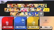 Pantalla de selección de personajes SSB4 (Wii U)
