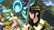 Pit Sombrío junto a Palutena en el Vergel de la esperanza SSB4 (Wii U)