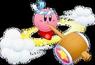 Kirby usando Trompo Martillo en Kirby ¡Roedores al Ataque!